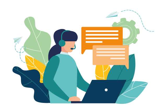 בחורה עם אוזניה ומיקרופון עובדת על לטפטופ וכותבת הודעות ללקוחות
